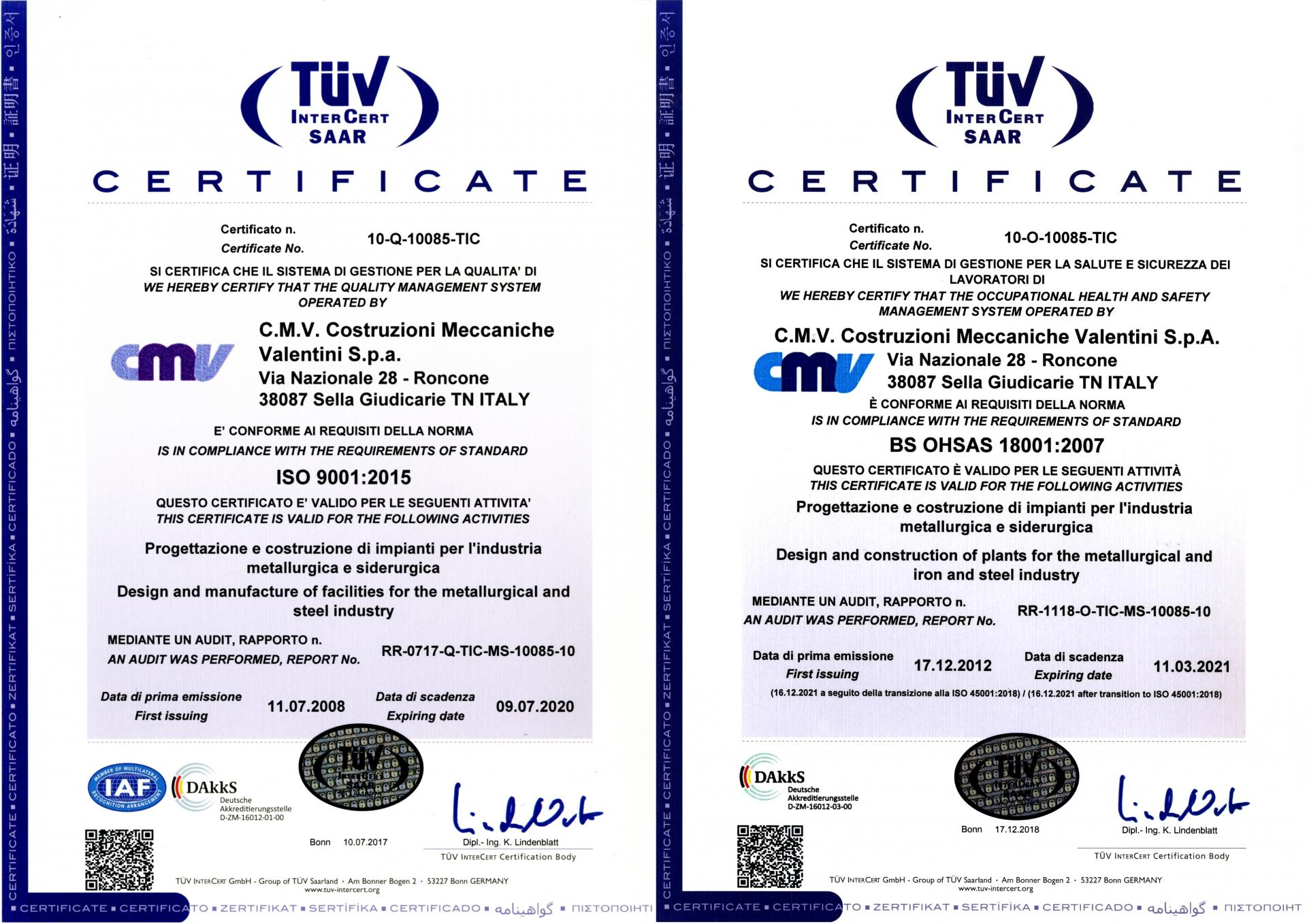 Certificati TUF ISO 9001-2015 - OHSAS 18001-2007 Rev1